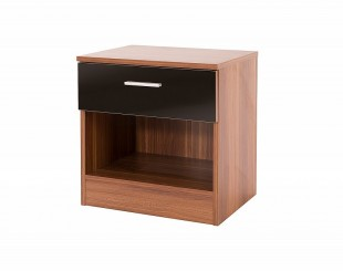 GFW Ottawa 1 Drawer Bedside in Walnut and Black Gloss