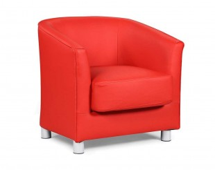 Sleep Design Vegas Red Faux Leather Tub Chair