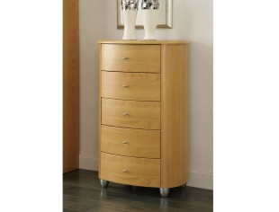 birlea aztec beech 5 drawer narrow chest by birlea