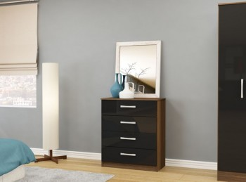 Birlea Lynx Walnut with Black Gloss 4 Drawer Chest of Drawers