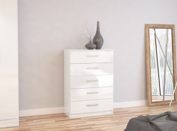 Birlea Lynx White with White Gloss 5 Drawer Chest of Drawers