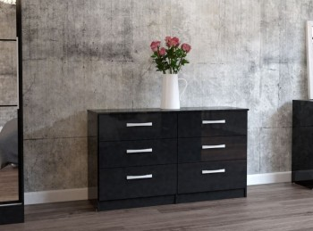 Birlea Lynx Black with Black Gloss 6 Drawer Wide Chest of Drawers