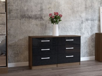 Birlea Lynx Walnut with Black Gloss 6 Drawer Wide Chest of Drawers