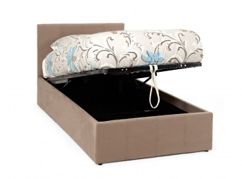Serene Evelyn 3ft Single Latte Fabric Ottoman Bed