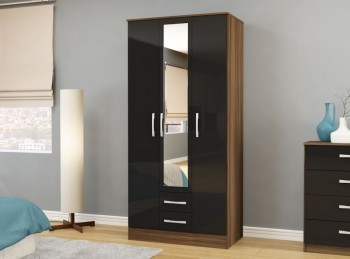 Birlea Lynx Walnut with Black Gloss 3 Door 2 Drawer Wardrobe with Centre Mirror