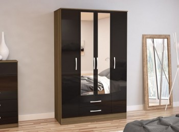 Birlea Lynx Walnut with Black Gloss 4 Door 2 Drawer Wardrobe with Centre Mirrors