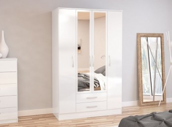 Birlea Lynx White with White Gloss 4 Door 2 Drawer Wardrobe with Centre Mirrors