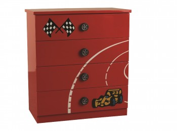 Sweet Dreams Formula Red 4 Drawer Chest of Drawers