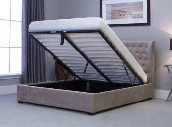 Emporia Kensington 4ft6 Double Stone Fabric Ottoman Bed