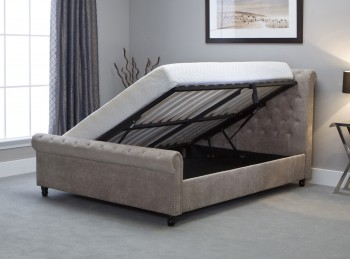Emporia Oxford 5ft Kingsize Stone Fabric Ottoman Bed