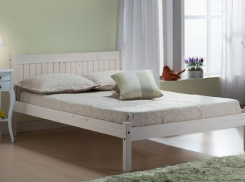 Birlea Rio 4ft6 Double White Washed Pine Wooden Bed Frame