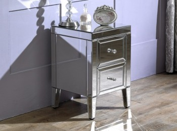 Birlea Valencia 2 Drawer Mirrored Bedside