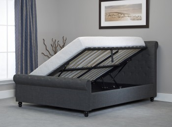Emporia Oxford 5ft Kingsize Grey Fabric Ottoman Bed