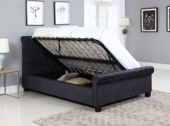 Flair Furnishings Lola 4ft6 Double Black Fabric Ottoman Bed Frame