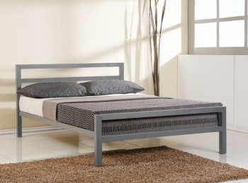 Time Living City Block 4ft Small Double Grey Metal Bed Frame