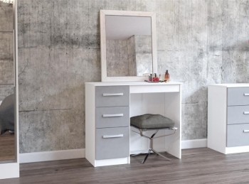 Birlea Lynx White with Grey Gloss 3 Drawer Single Pedestal Dressing Table