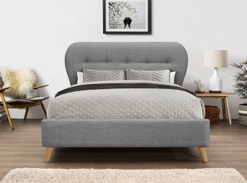 Flair Furnishings Ashley 5ft Kingsize Grey Fabric Bed Frame