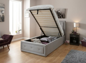 GFW Hollywood 3ft Single Stone Fabric Ottoman Lift Bed Frame