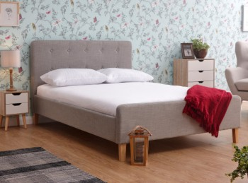GFW Ashbourne 5ft Kingsize Light Grey Fabric Bed Frame