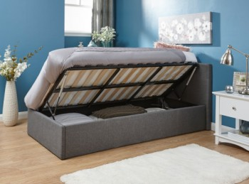 GFW Side Lift Ottoman 3ft Single Grey Fabric Bed Frame
