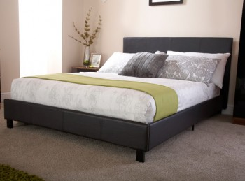 GFW Bed In A Box 4ft6 Double Black Faux Leather Bed Frame