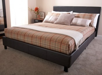 GFW Bed In A Box 4ft6 Double Brown Faux Leather Bed Frame