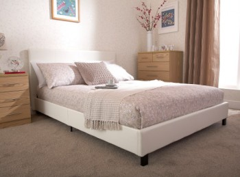 GFW Bed In A Box 4ft Small Double White Faux Leather Bed Frame
