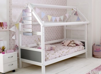 Flexa Nordic Playhouse Bed 1 With Grey End Panels