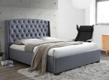 Birlea Balmoral 5ft Kingsize Grey Velvet Fabric Bed Frame