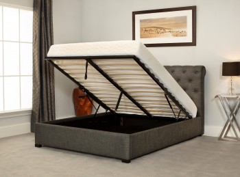 Emporia Balmoral 4ft6 Double Grey Fabric Ottoman Bed