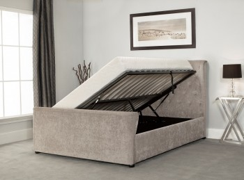 Emporia Manhattan 6ft Super Kingsize Stone Fabric Ottoman Bed