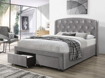 Flair Furnishings Ellen 5ft Kingsize Silver Fabric Bed Frame