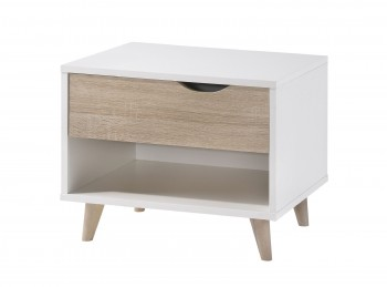 LPD Stockholm 1 Drawer Bedside In White And Oak