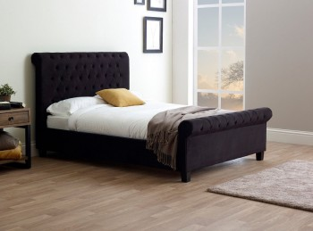 Limelight Orbit 6ft Super Kingsize Black Velvet Fabric Bed Frame
