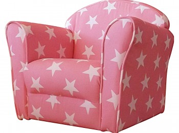 Kidsaw Pink With White Stars Childrens Mini Armchair