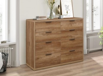 Birlea Stockwell Oak Finish 8 Drawer Merchant Chest