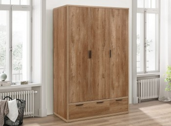 Birlea Stockwell Oak Finish 3 Door 2 Drawer Wardrobe