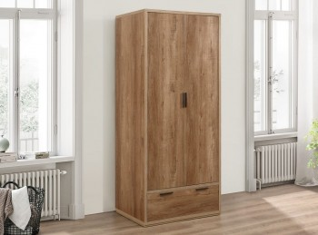 Birlea Stockwell Oak Finish 2 Door 1 Drawer Wardrobe