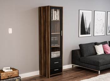 Birlea Edgeware Glass Door Cabinet In Walnut And Black