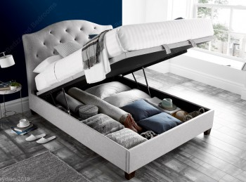 Kaydian Lindisfarne 4ft6 Double Stone Fabric Ottoman Storage Bed