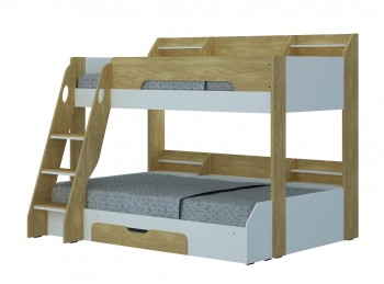 Flair Furnishings Flick Oak Finish Triple Sleeper Bed