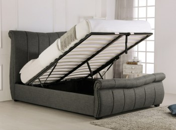 Emporia Bosworth 6ft Super Kingsize Grey Fabric Ottoman Sleigh Bed