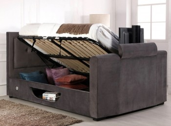 Flair Furnishings Juliet 5ft Kingsize Ottoman TV Bed In Silver Fabric