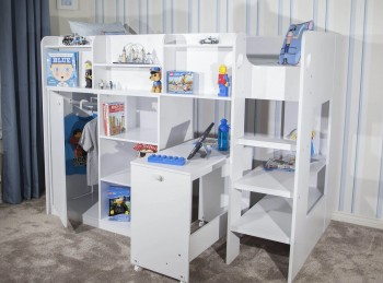 Flair Furnishings Wizard Junior White High Sleeper Workstation