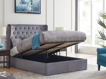 Flintshire Holway 4ft6 Double Grey Fabric Ottoman Bed