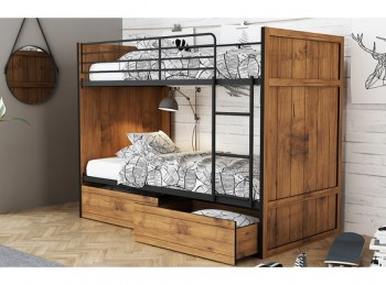 LPD Rocco Wooden Bunk Bed With Drawers