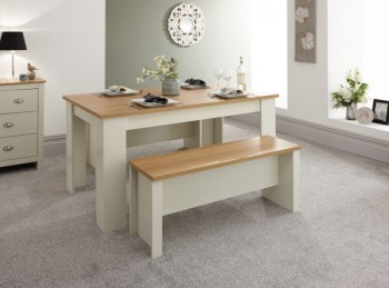 GFW Lancaster 150cm Dining Table with Benches in Cream