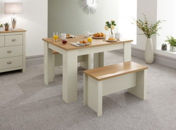 GFW Lancaster 120cm Dining Table with Benches in Cream