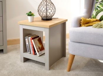 GFW Lancaster Side Table with Shelf in Grey
