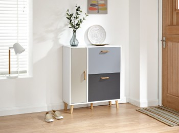 GFW Delta Shoe Cabinet in White and Grey